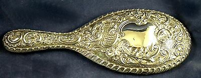 Antique Hall marked Silver Backed Repousse Hand Mirror CHESTER 1900