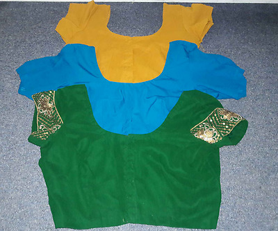 Choli Cultural Clothing Handmade India Pakistani Top Green Blue Orange LOT 3