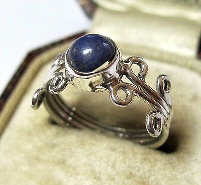 Vintage Celtic Style Jewellery Solid Silver Natural Lapis Lazuli Stone RING 6 L