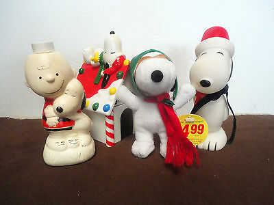 Lot of 4 Snoopy, Peanuts - Christmas - Dog House, Avon, Charlie Brown, Red Baron