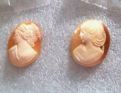 High End Estate Sale:vintage (2) Beautiful Hand Carved Cameo's.