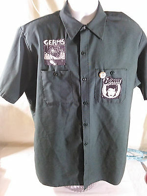 Vintage DURABLE PRESS SHIRT David Bowie GERMs UTILITY-US MILITARY Art