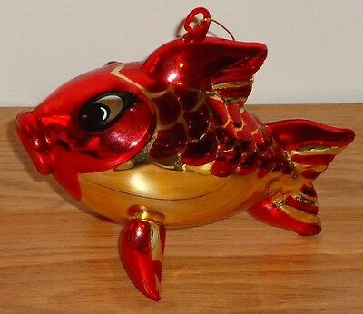 "Macy's Thanksgiving Day Parade FISH Balloon  Blown Glass Christmas Ornament 6""L"