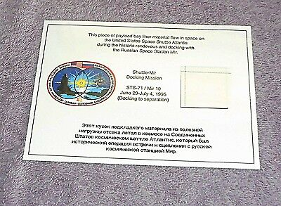 NASA STS-71 Space Shuttle Atlantis MIR 19 Flown Payload Bay Liner Material