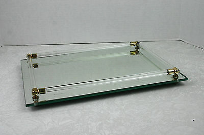 Vintage Mirror Dresser Vanity Tray with Glass Rods Art Deco 9x12