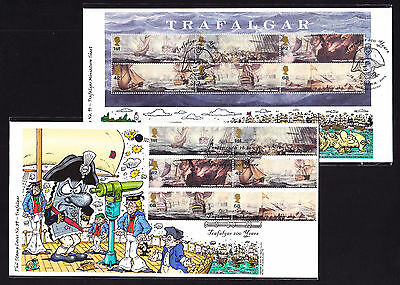 2005 Great Britain Phil Stamp TWO First Day Cover FDC Trafalgar MS Stamps Nelson