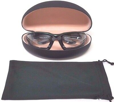 Motorcycle Transition Padded Sunglasses Clear to Dark w/ Green Pinstripe + Case!