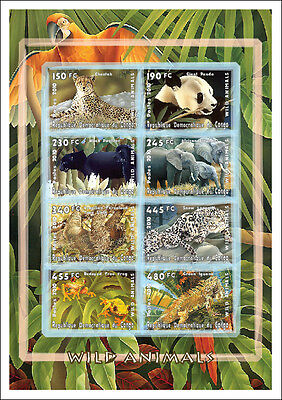 Congo 2010 Sheet Mng Panda Bears Frogs Lizards Elephants Felines Wild Big Cats