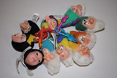 Disney Snow White & The Seven Dwarfs Collectable plush heads with clips full set