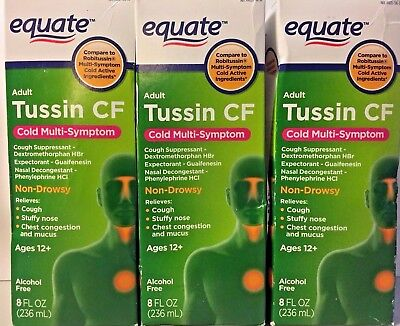3 Pack Equate Adult Tussin Cf Cold Multi Symptom 8 Oz Exp 112019