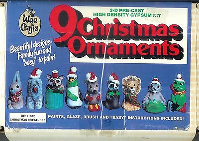 RARE WEE CRAFT 3-D CHRISTMAS CREATURES Kit# 1052 Set of 9 Gypsum Ornaments