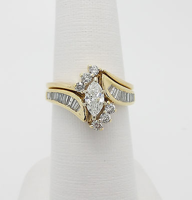 Zales 1CT Marquise Cut Diamond Engagement Wedding Ring Set 14K Yellow Gold