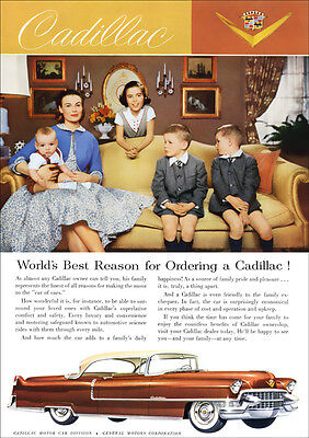 1955 Cadillac Coupe De Ville Retro A3 Poster Print From Advert 1955