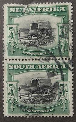 South Africa #31c Used, Rare Bilingual Pair, Perf 14 x 13.5, Faulty Top Stamp
