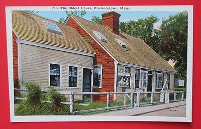 Oldest House in Provincetown MA Unposted Pre Linen Postcard