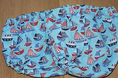 Handmade Diaper/nappy Cover Pants 12-24 Months(Unisex) Sailing Boats