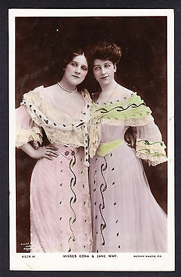 Misses Edna & Jane May Actress coloured RPPC Edwardian postcard Tinted Photo PC