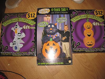 LOT OF 3 * 4 FOOT Inflatable Halloween Air Blown Lighted Outdoor Yard 1  Gemmy