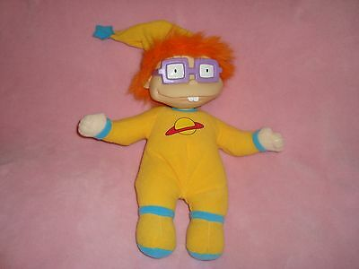 "Rugrats Chuckie in yellow Pajamas P.J's Plush & PVC head 12"" Mattel 1997 viacom"