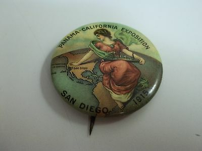 1915 San Diego PANAMA CALIFORNIA EXPOSITION Pinback BUTTON Antique FAIR Pin PPIE