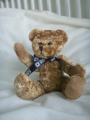 "LOGO bears advertising for RBS ~ 8"" tall moveable arms/legs deep golden plush"