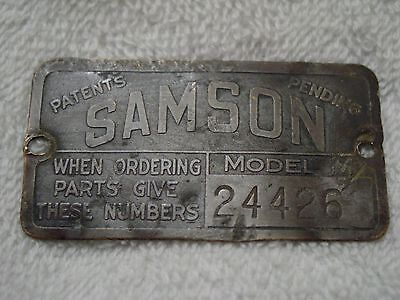 """Unique 1919-23 SAMSON TRACTOR """"Model M"""" Serial Number PLATE Tag GM Janesville WI"""