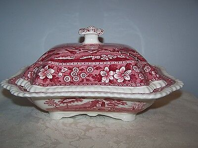 Spode Spode's Pink Tower Covered Footed Vegetable Serving Dish Bowl / Tureen