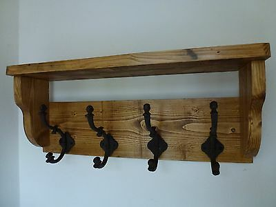 Shabby Chic Heavy Rustic Hat / Coat Rack With Shelf and 4 Cast Iron Hooks