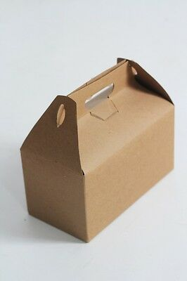 Large Gable Gift Box -9.5 x 9 x 5 Kraft Natural - Set of 10 | brown lunch box