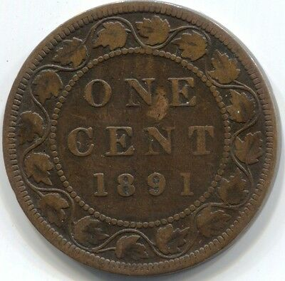 1891 (LL LD) CANADA ONE CENT Coin