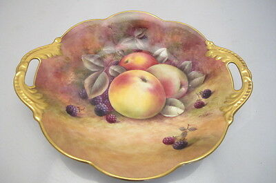 Coalport Handpainted Porcelain Fruit R Budd Twin Handle Dish Signed
