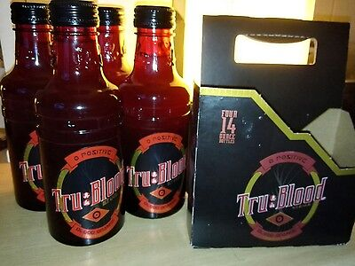 HBO True Blood Bottles x4 with holder/box - ALL FULL UNOPENED - Rare Glass ver