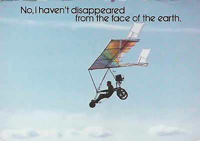 """*Postcard-""""Man in Sky on Bike Kite"""" /No I Haven't Disappeared..."""" (#425)"""