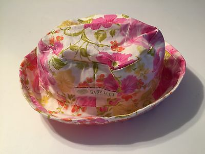 Girl's BABY LULU Boutique Pink SOUTHERN ROSE White Floral BUCKET Sun HAT 4-6X