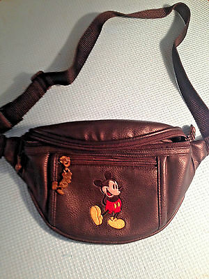 Disney Mickey Mouse Black Faux Leather Fanny Pack Bag Purse Vtg 1990's