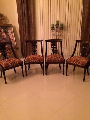 Antique Vintage French Empire Style Dining Six 6 Wood Chairs Set