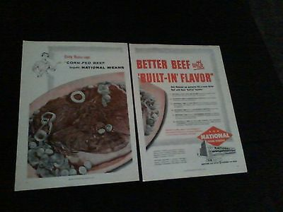 1956 national food stores magazine print ad 2 page shows large beef natco
