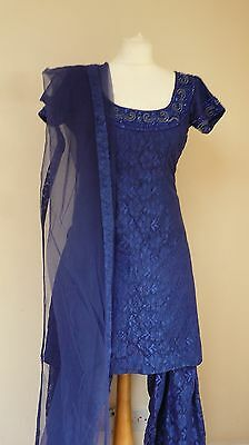 blue lace 12-14 bollywood punjabi Indian salwar kameez sari lengha SS13612