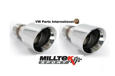VW Golf MK7 GTI MILLTEK Sport 2x Polished GT100 Tips Tail Pipe Trims Only
