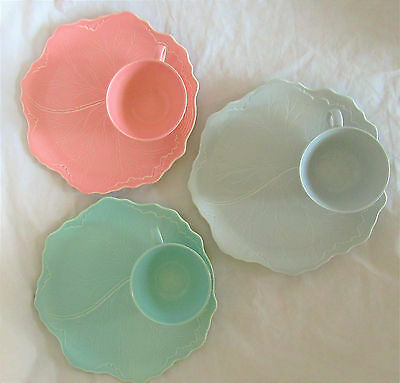 3 Vintage Leaf Fantasy Snack Plates and Cups Pastel Gray, Pink & Turquoise