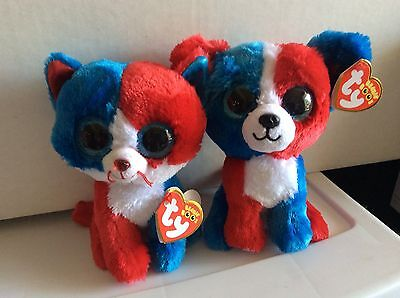 "Ty Beanie Boos FIRECRACKER the Cat & VALOR the Dog 6"" MWMTS"