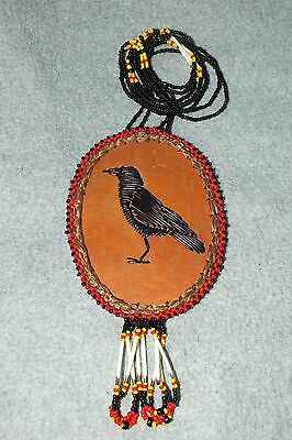 CROW Clan Bead Quill Sweet Grass Necklace by Paul St John Native American Totem