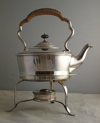 Fine Edwardian Solid Silver Spirit Kettle On Stand - 1,164g - Sheffield 1909