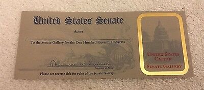 US Senate Chamber 111th Congress-Visitor Gallery Pass-For Collector Purpose