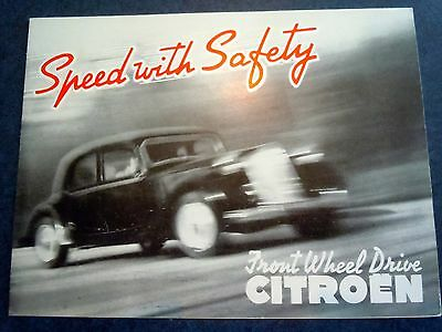 1953 CITROEN Light 15 & Big 15 Speed With Safety ORIGINAL Brochure-NM!