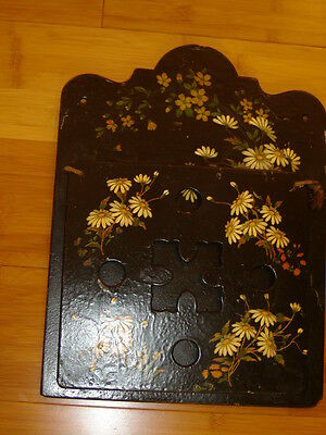 Victorian wall pocket music holder black white dasies cutout design on front