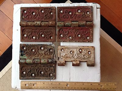 Lot of 3 1/2 Antique Vintage Cast Iron Door Hinges