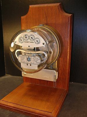 GENERAL ELECTRIC I-30-A  Model AA5 METER Mounted on Walnut to make a LAMP