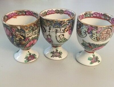 """3 Handpainted Oriental Egg Cups 2 1/4"""" tall Flowers Gold"""