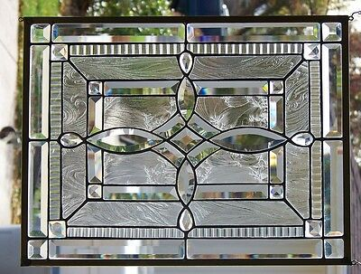 Stained Glass Beveled  window hanging 22 X 16 5/8'